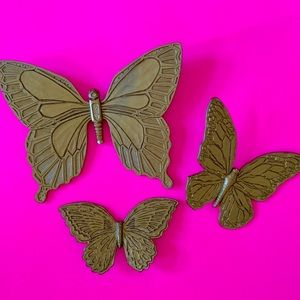 Vintage 70s butterfly wall hangings set of 3